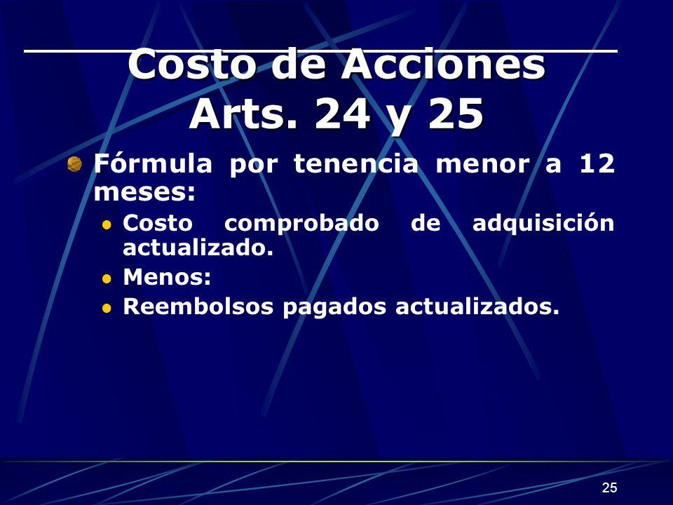 Costo de Acciones Arts. 24 y 25