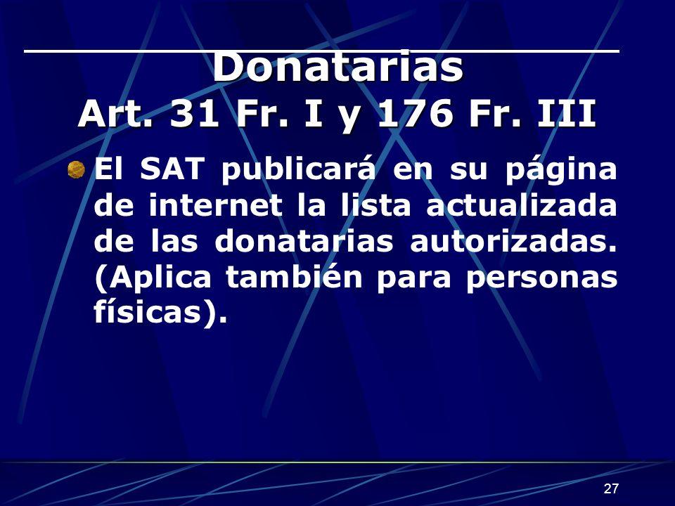 Donatarias Art. 31 Fr. I y 176 Fr. III