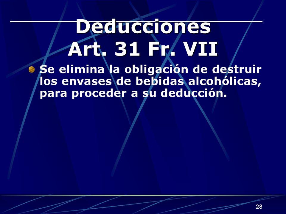 Deducciones Art. 31 Fr.