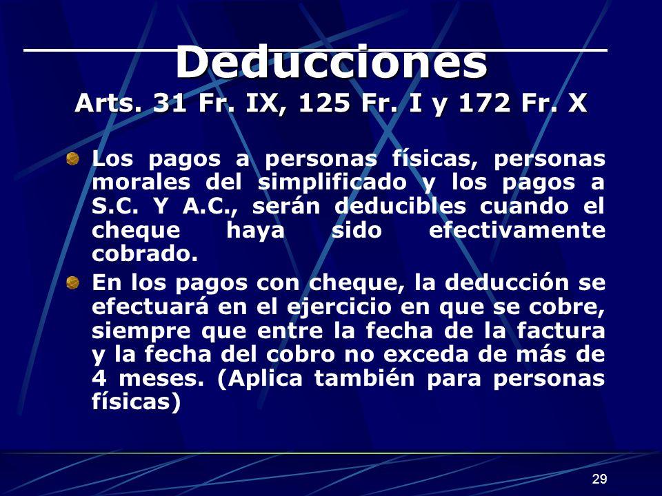 Deducciones Arts. 31 Fr. IX, 125 Fr. I y 172 Fr. X