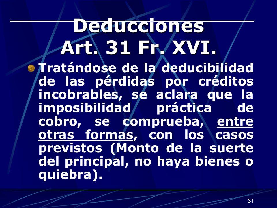 Deducciones Art. 31 Fr. XVI.