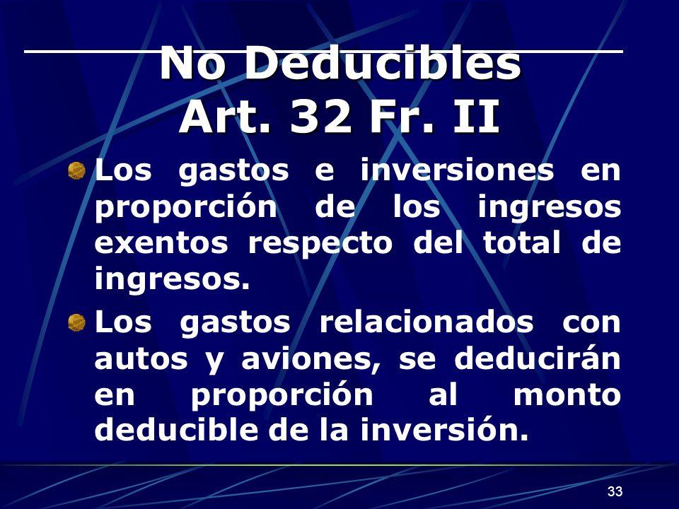 No Deducibles Art. 32 Fr. II Los gastos e inversiones en proporción de los ingresos exentos respecto del total de ingresos.