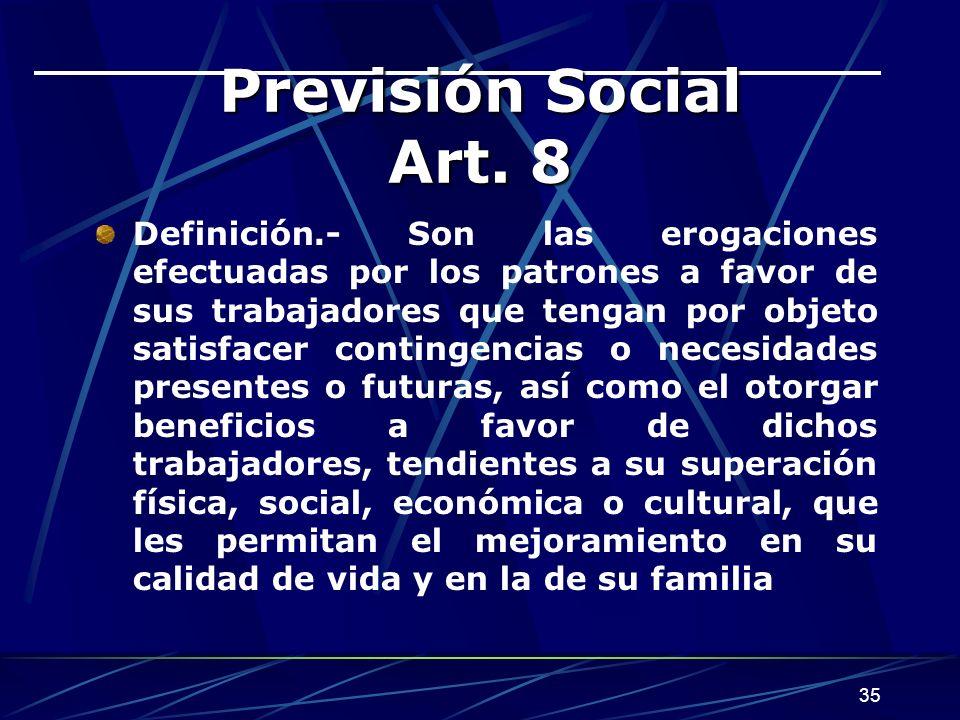Previsión Social Art. 8