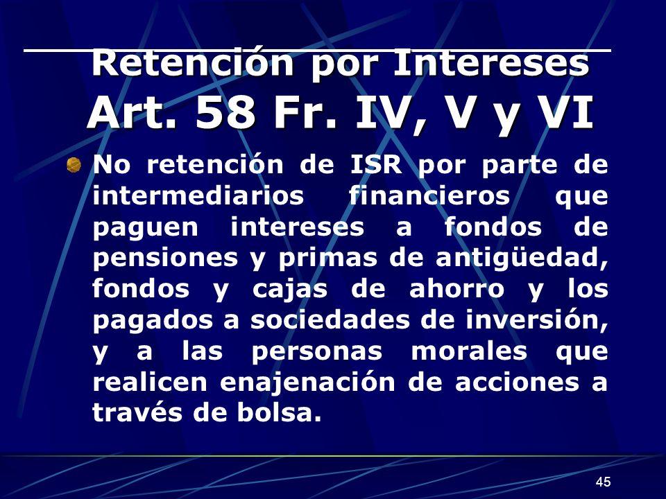 Retención por Intereses Art. 58 Fr. IV, V y VI