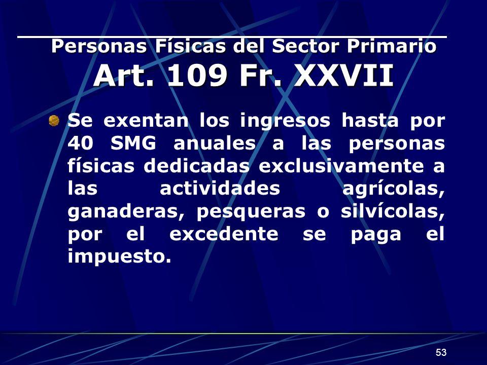 Personas Físicas del Sector Primario Art. 109 Fr. XXVII