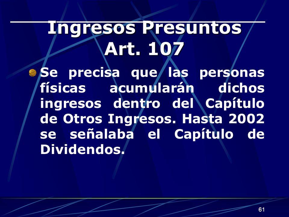 Ingresos Presuntos Art. 107