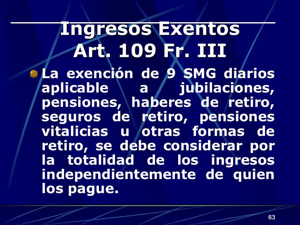 Ingresos Exentos Art. 109 Fr. III