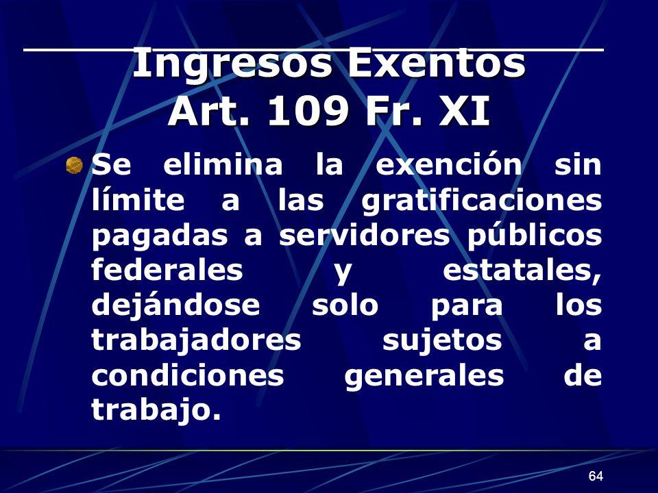 Ingresos Exentos Art. 109 Fr. XI