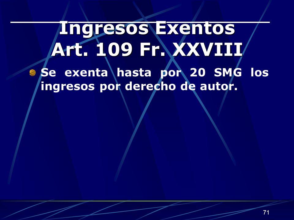 Ingresos Exentos Art. 109 Fr. XXVIII