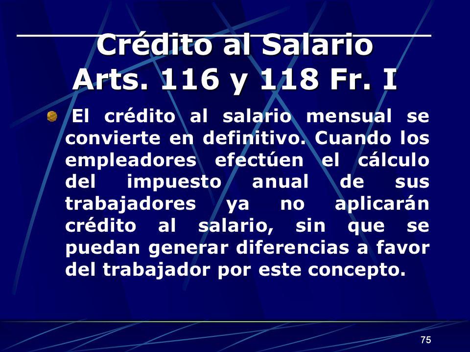 Crédito al Salario Arts. 116 y 118 Fr. I