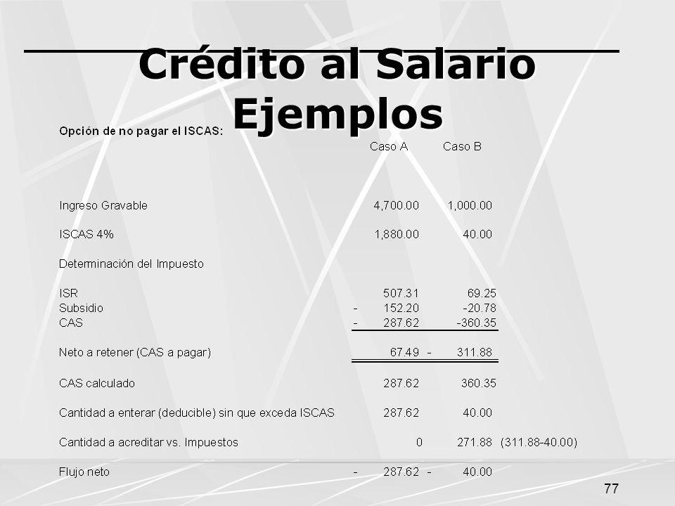 Crédito al Salario Ejemplos