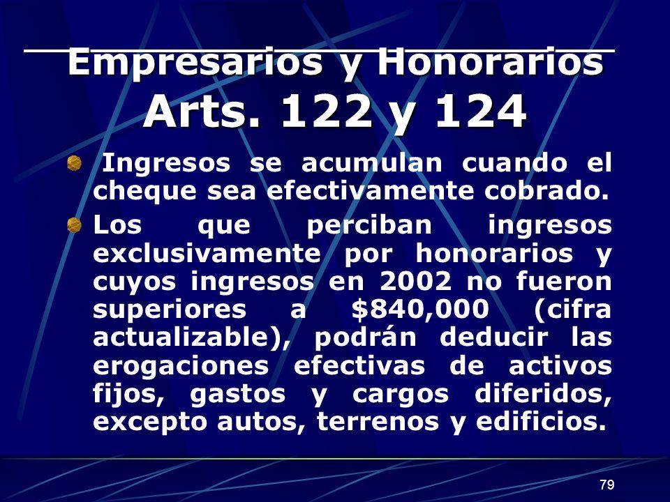 Empresarios y Honorarios Arts. 122 y 124