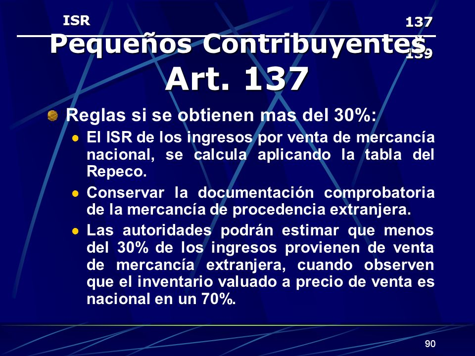 Pequeños Contribuyentes Art. 137