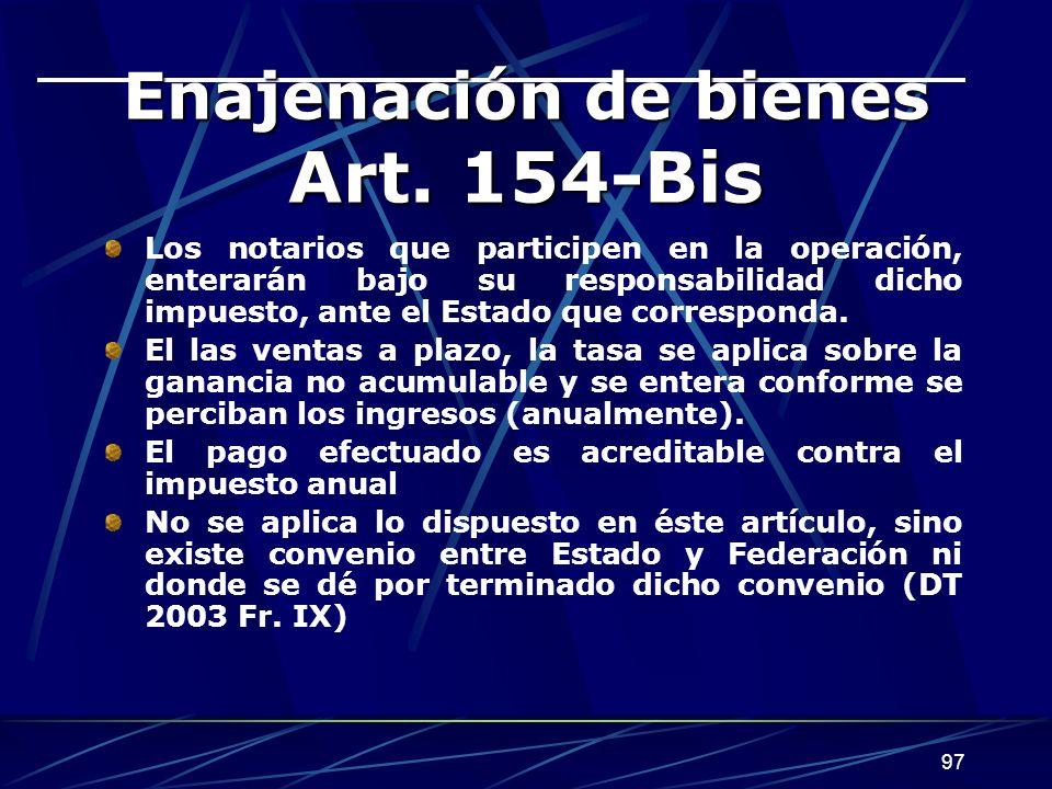 Enajenación de bienes Art. 154-Bis