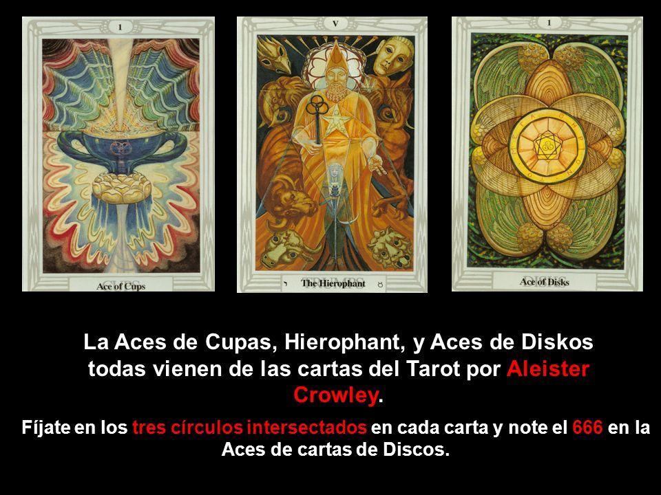 La Aces de Cupas, Hierophant, y Aces de Diskos todas vienen de las cartas del Tarot por Aleister Crowley.