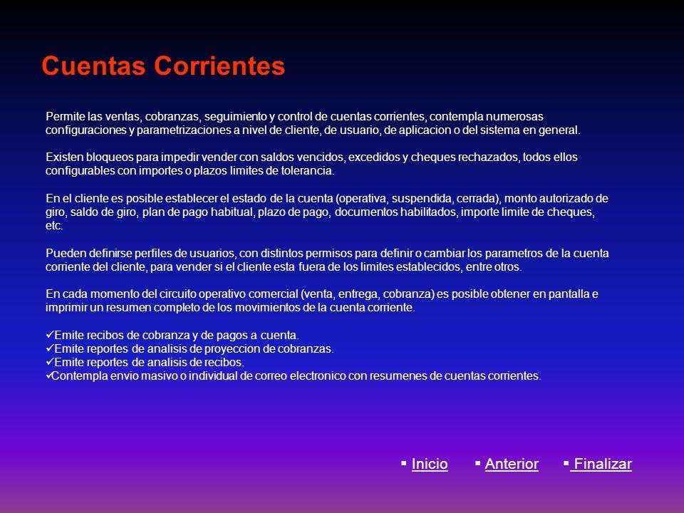 Cuentas Corrientes Inicio Anterior Finalizar
