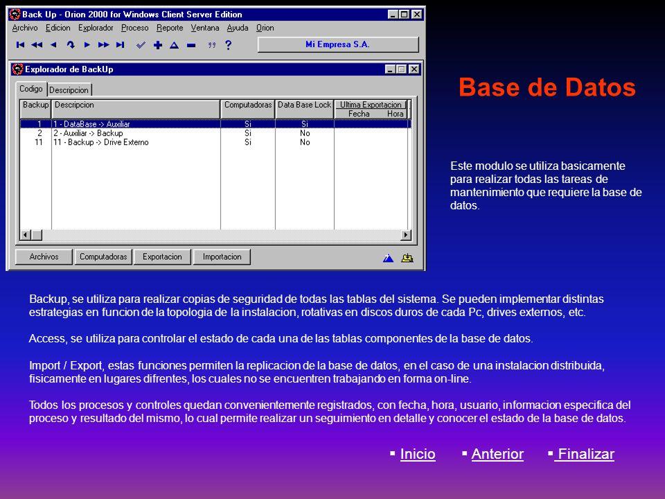 Base de Datos Inicio Anterior Finalizar