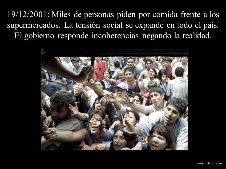 19/12/2001: Miles de personas piden por comida frente a los supermercados.