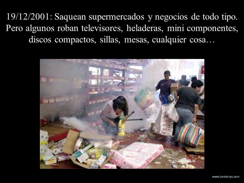 19/12/2001: Saquean supermercados y negocios de todo tipo