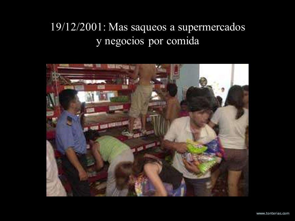 19/12/2001: Mas saqueos a supermercados y negocios por comida
