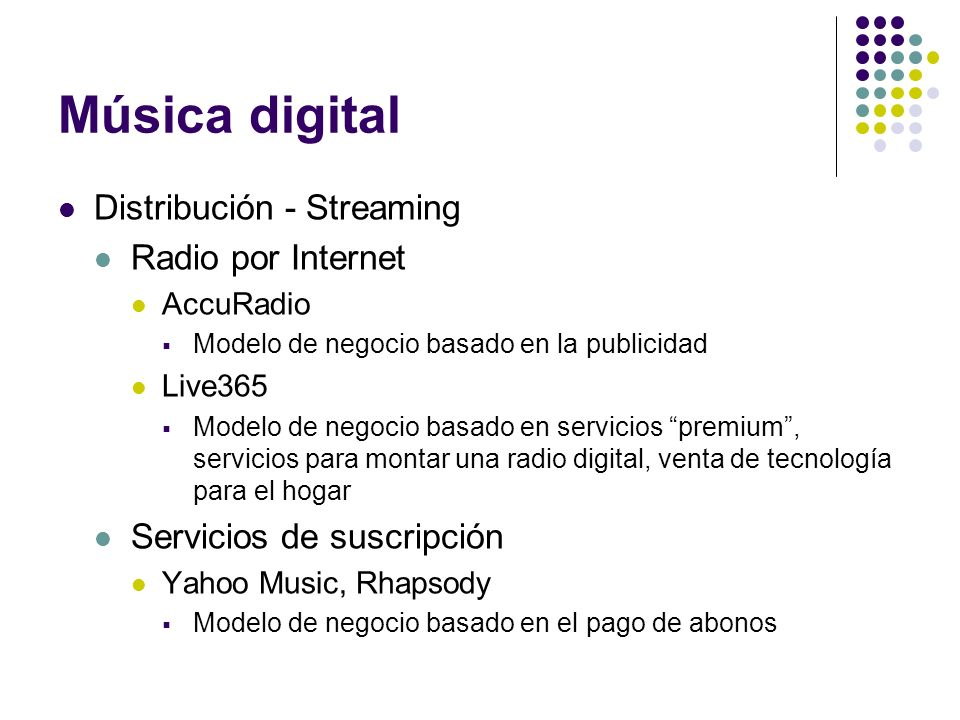 Música digital Distribución - Streaming Radio por Internet