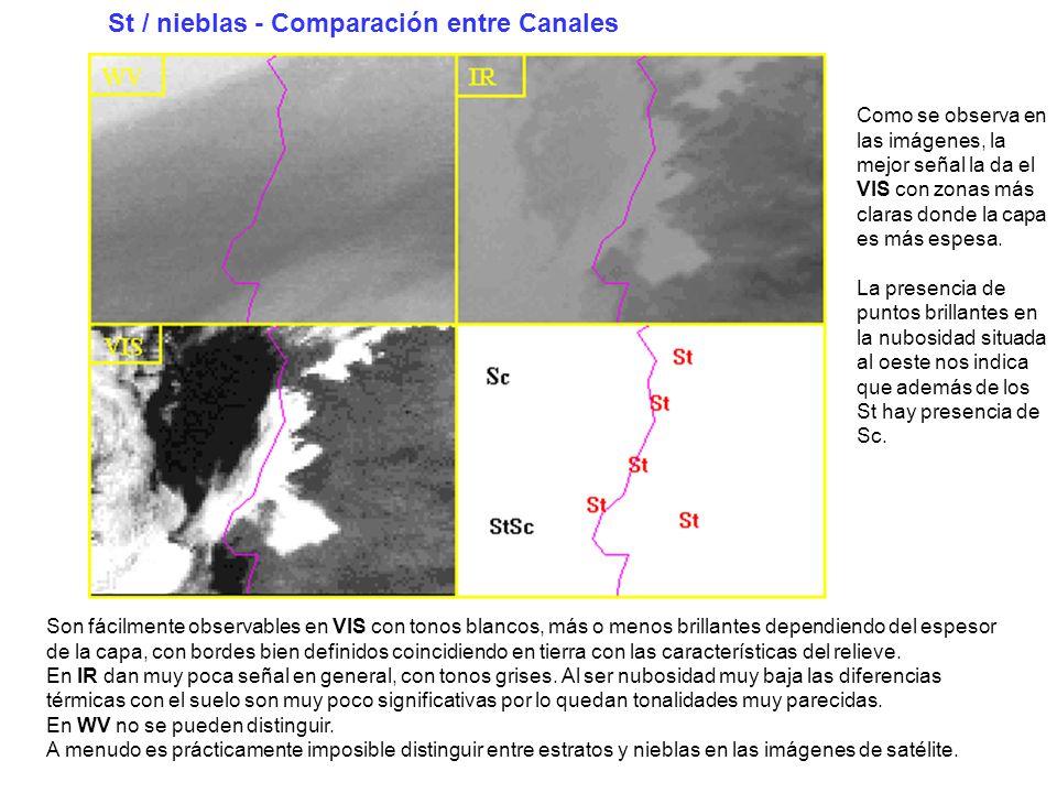 St / nieblas - Comparación entre Canales
