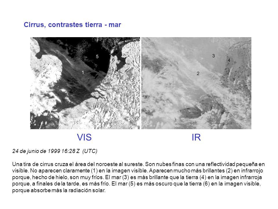 Cirrus, contrastes tierra - mar