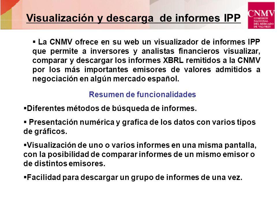 Visualización y descarga de informes IPP Resumen de funcionalidades