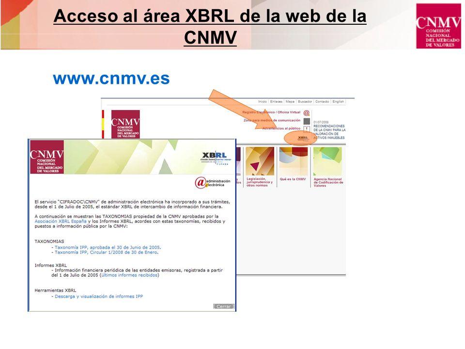 Acceso al área XBRL de la web de la CNMV