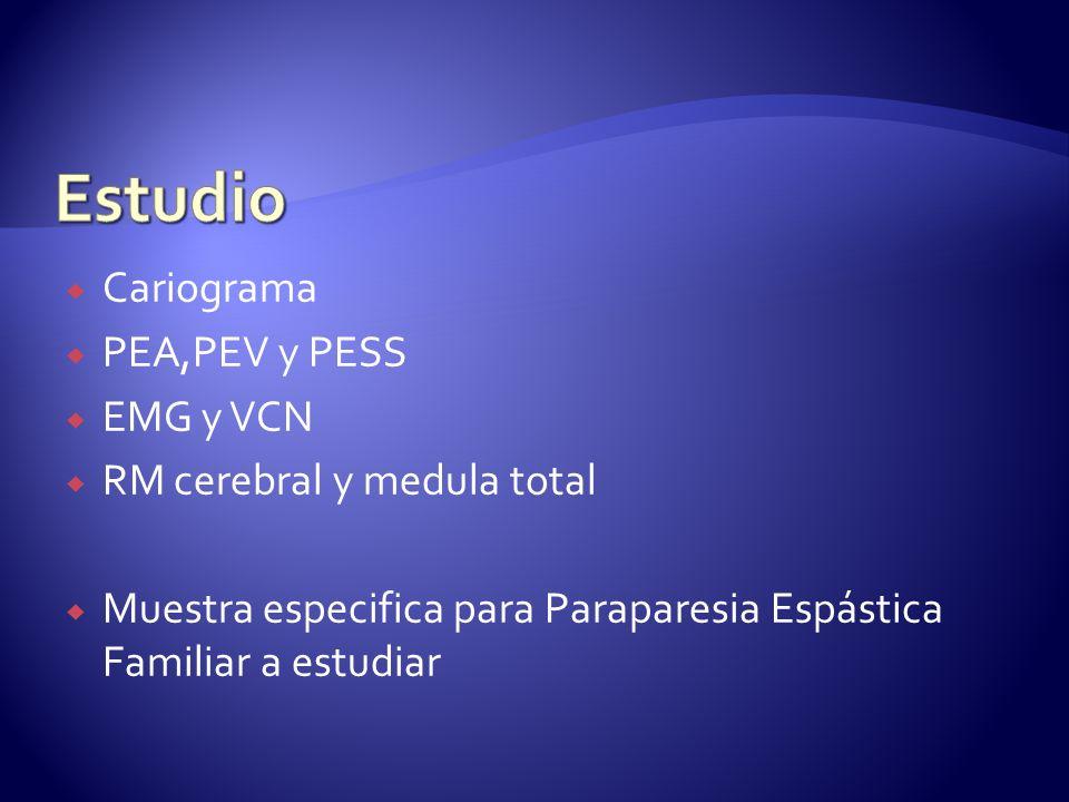 Estudio Cariograma PEA,PEV y PESS EMG y VCN RM cerebral y medula total