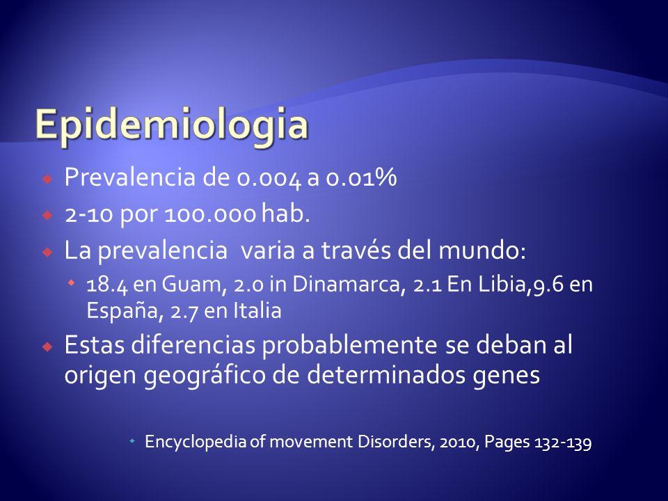 Epidemiologia Prevalencia de 0.004 a 0.01% 2-10 por 100.000 hab.