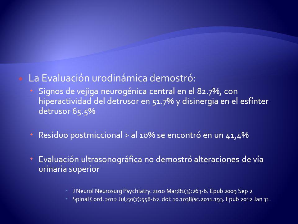 La Evaluación urodinámica demostró: