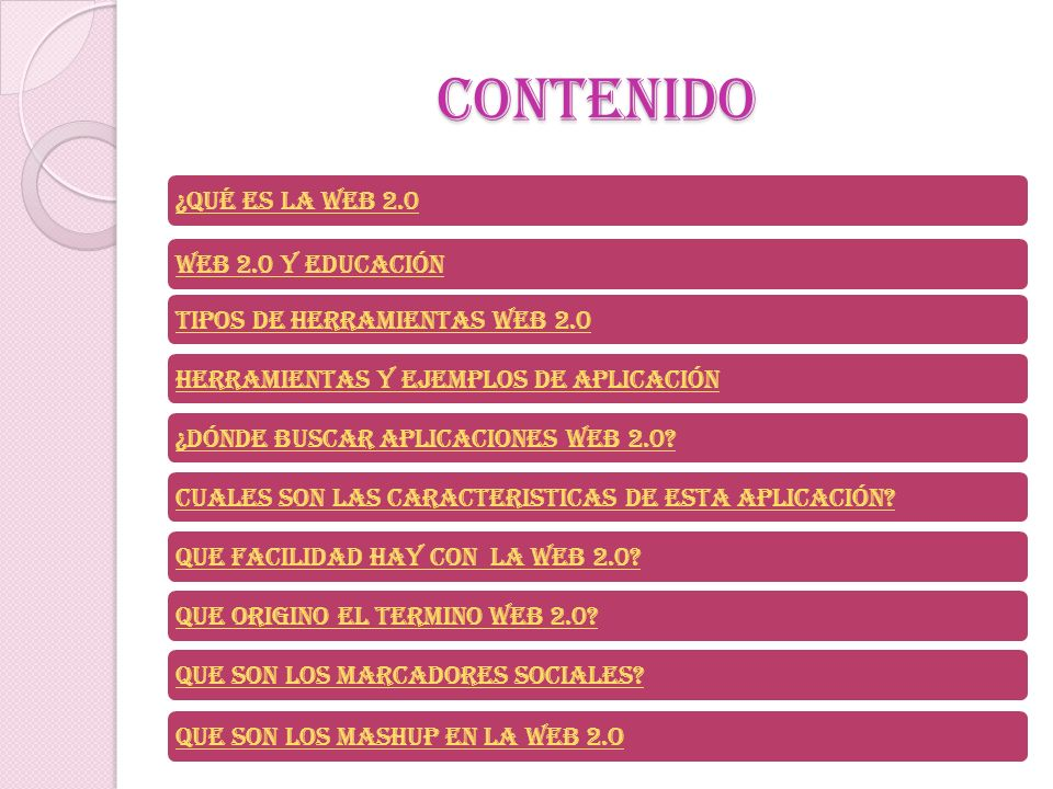 CONTENIDO ¿Qué es la web 2.0 Web 2.0 y educación