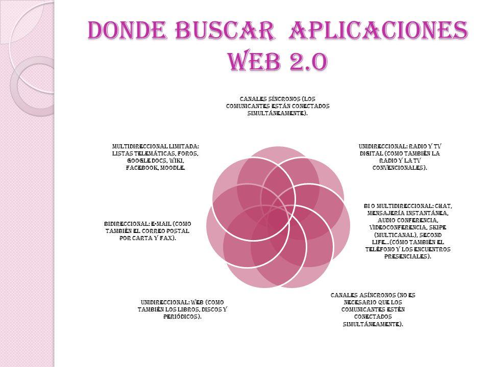 DONDE BUSCAR APLICACIONES WEB 2.O
