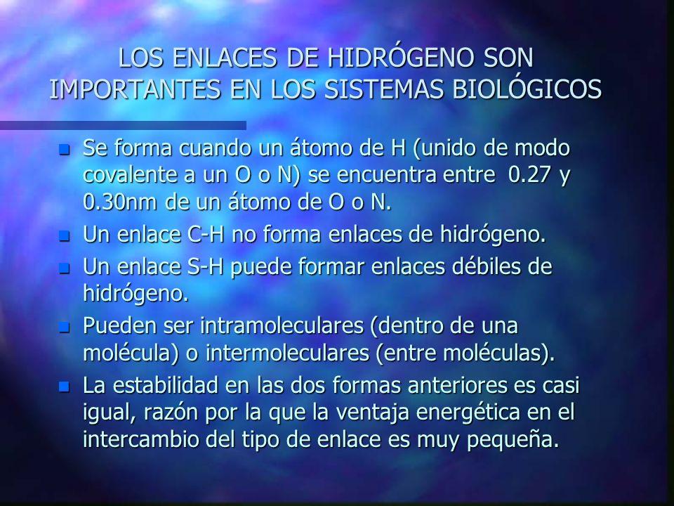 LOS ENLACES DE HIDRÓGENO SON IMPORTANTES EN LOS SISTEMAS BIOLÓGICOS