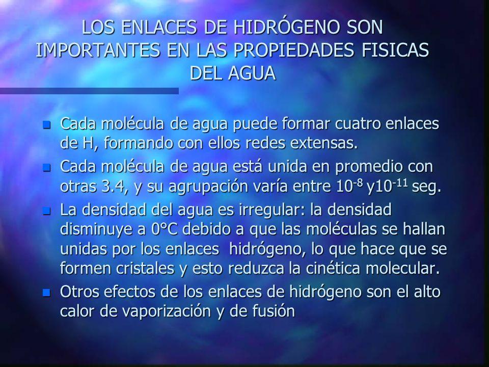 LOS ENLACES DE HIDRÓGENO SON IMPORTANTES EN LAS PROPIEDADES FISICAS DEL AGUA