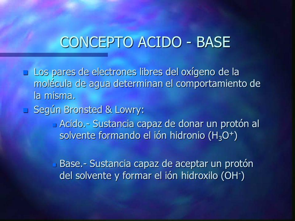 CONCEPTO ACIDO - BASE Los pares de electrones libres del oxígeno de la molécula de agua determinan el comportamiento de la misma.