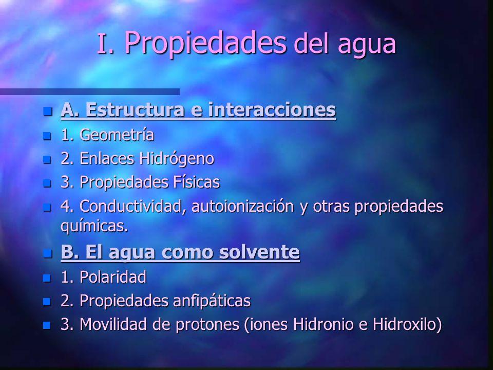 I. Propiedades del agua A. Estructura e interacciones