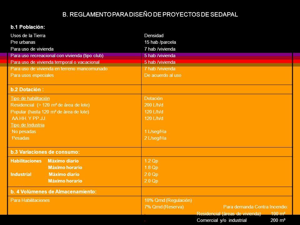 B. REGLAMENTO PARA DISEÑO DE PROYECTOS DE SEDAPAL