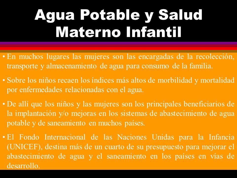 Agua Potable y Salud Materno Infantil