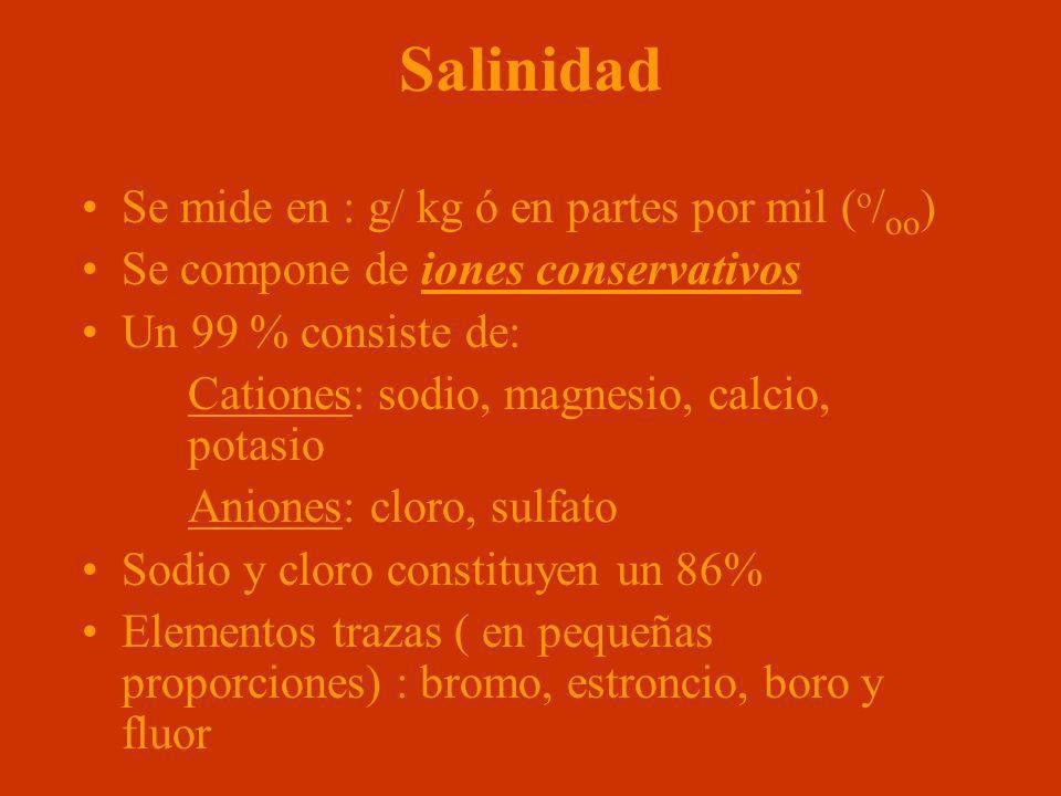 Salinidad Se mide en : g/ kg ó en partes por mil (o/oo)