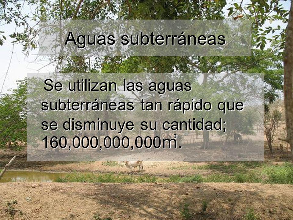 Aguas subterráneas Se utilizan las aguas subterráneas tan rápido que se disminuye su cantidad; 160,000,000,000㎥.