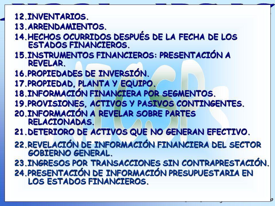NICSPs 12.INVENTARIOS. 13.ARRENDAMIENTOS.