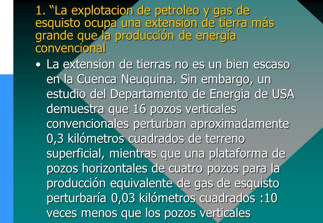 1. La explotacion de petroleo y gas de esquisto ocupa una extension de tierra más grande que la producción de energía convencional