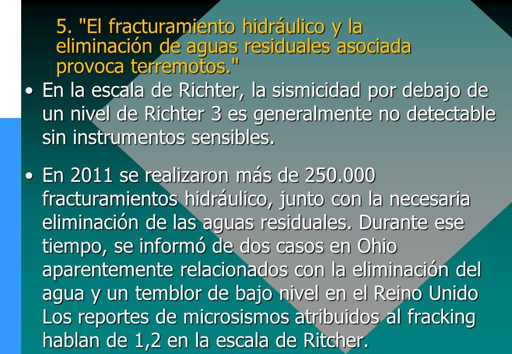 5. El fracturamiento hidráulico y la eliminación de aguas residuales asociada provoca terremotos.