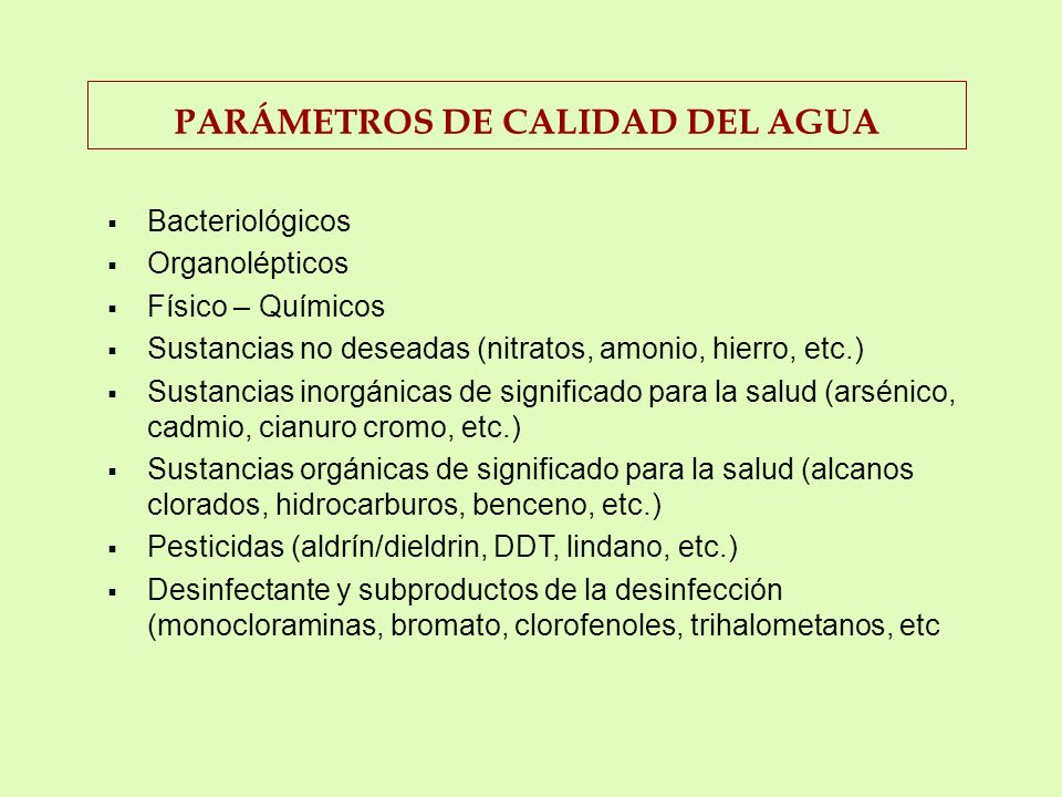 PARÁMETROS DE CALIDAD DEL AGUA