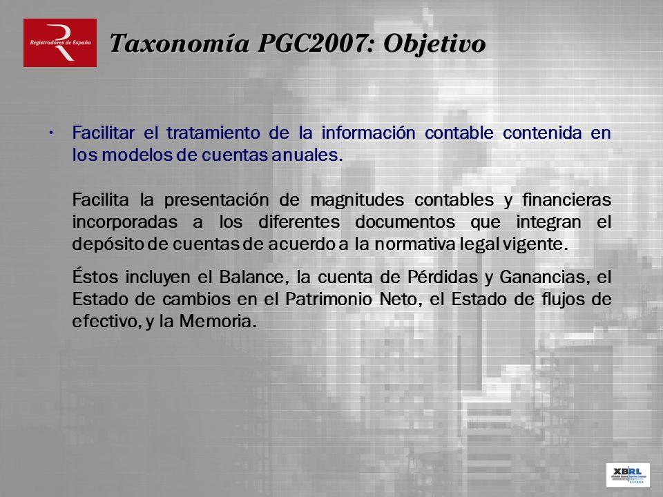 Taxonomía PGC2007: Objetivo