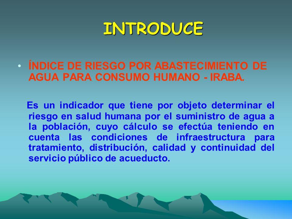 INTRODUCE ÍNDICE DE RIESGO POR ABASTECIMIENTO DE AGUA PARA CONSUMO HUMANO - IRABA.