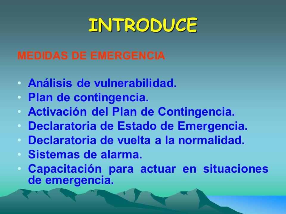 INTRODUCE Análisis de vulnerabilidad. Plan de contingencia.