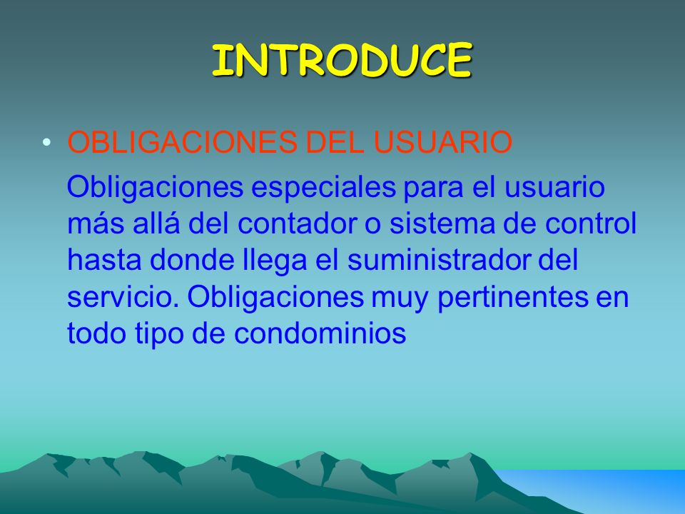 INTRODUCE OBLIGACIONES DEL USUARIO